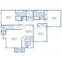 Three bedroom two bathroom floor plan